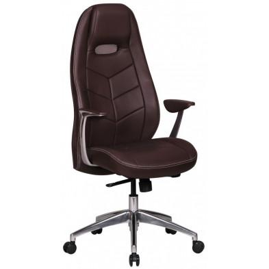 Chaise et fauteuil de bureau marron design en cuir véritable L. 60 x P. 62 x H. 122 - 131 cm collection Fresh