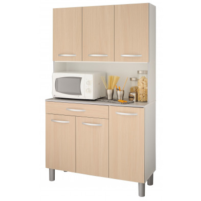 Buffet & vaisselier moderne marron en panneaux de particules mélaminés de haute qualité L. 101 x P. 40 x H. 185 cm Collection Lheureux