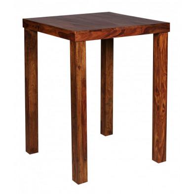 Table de bar marron contemporain en bois massif L. 80 x P. 80 x H. 110 cm collection Fluttering