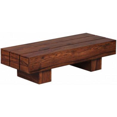 Table basse en bois marron contemporain en bois massif L. 120 x P. 45 x H. 30 cm collection Fluttering