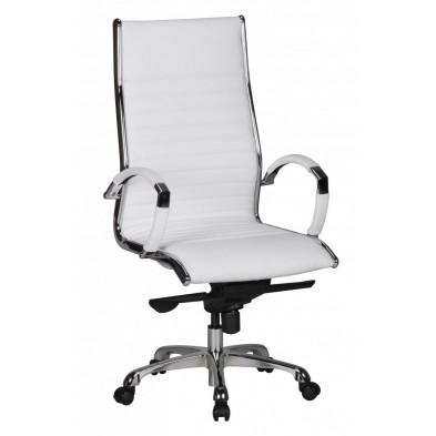 Chaise et fauteuil de bureau blanc design en PVC L. 60 x P. 60 x H. 112 - 122 cm collection Boorsem