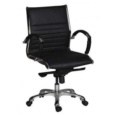 Chaise et fauteuil de bureau noir design en pvc L. 60 x P. 60 x H. 97 - 107 cm collection Boorsem