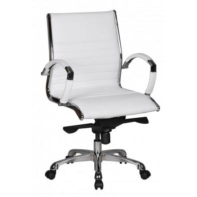 Chaise et fauteuil de bureau blanc design en PVC L. 60 x P. 60 x H. 97 - 107 cm collection Boorsem