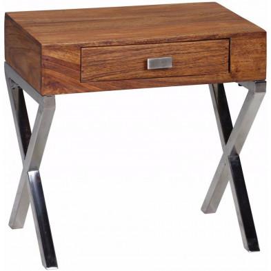 Chevet - table de nuit marron contemporain en bois massif L. 45 x P. 50 x H. 45 cm collection Agawam