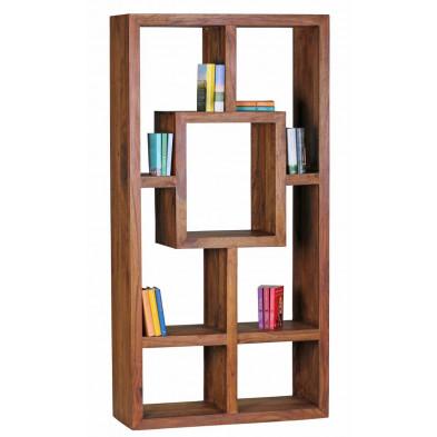 Bibliothèque marron contemporain en bois massif L. 90 x P. 35 x H. 180 cm collection Aller