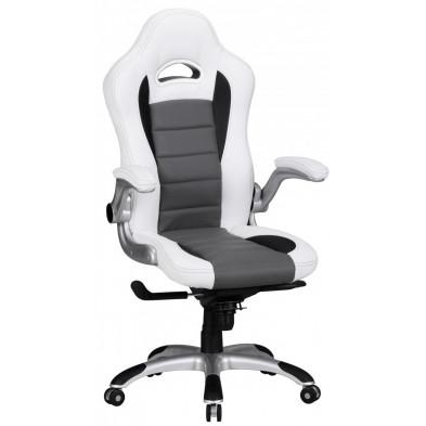 Chaise et fauteuil de bureau blanc design en PVC L. 52 x P. 50 x H. 120 -126 cm collection Kemnath