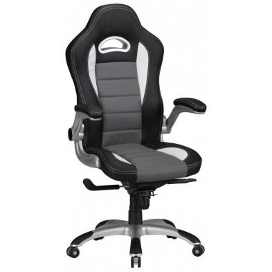 Chaise et fauteuil de bureau gris design en PVC 52 cm de largeur L. 52 x P. 50 x H. 120 - 126 cm collection Kemnath