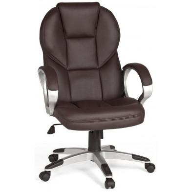 Chaise et fauteuil de bureau marron design en pvc L. 63 x P. 57 x H. 107 - 115 cm collection Cugnon