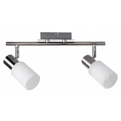 Plafonnier blanc design en acier chromé L. 32 x P. 6 x H. 13 cm collection Koorn