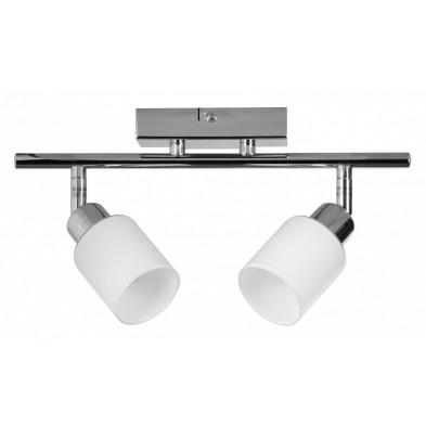 Plafonnier design rampe 29 cm avec 2 lampes pivotantes A+ L. 29 x P. 6 x H. 18 cm collection C-Quinzia