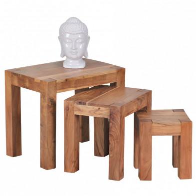 Lot de 3 Table d'appoint marron contemporain en bois massif L. 50 x P. 36 x H. 45 cm collection Army