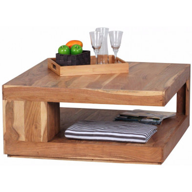 Table basse en bois marron contemporain en bois massif L. 90 x P. 90 x H. 40 cm collection Army