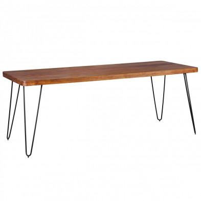 Table en bois marron rustique en bois massif L. 200 x P. 80 x H. 76 cm collection Oving
