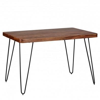 Table en bois marron rustique en bois massif L. 120 x P. 80 x H. 76 cm collection Oving