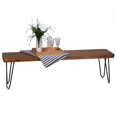 Bancs & banquettes de salle à manger marron contemporain en bois massif L. 160 x P. 40 x H. 45 cm collection Oving