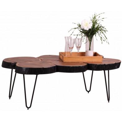 Table basse en bois marron contemporain en bois massif L. 115 x P. 70 x H. 40 cm collection Army