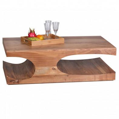 Table basse en bois marron contemporain en bois massif L. 118 x P. 70 x H. 38 cm collection Army