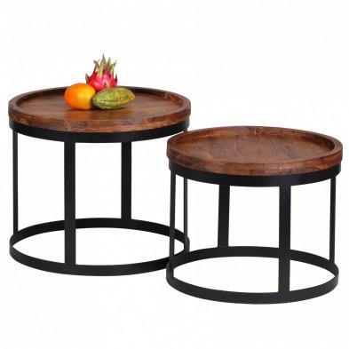 Lot de 2 Table d'appoint marron contemporain en bois massif L. 53 x P. 53 x H. 45 cm collection Oving
