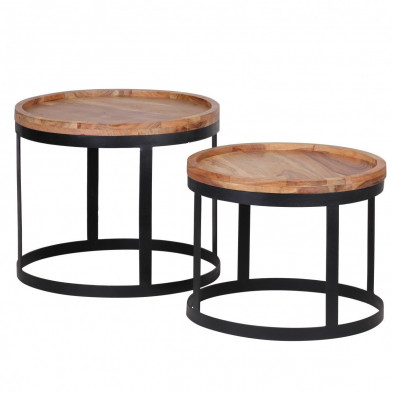 Lot de 2 Table d'appoint marron contemporain en bois massif acacia L. 53 x P. 53 x H. 45 cm collection Army