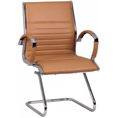 Chaise et fauteuil de bureau marron design en cuir véritable L. 62 x P. 54 x H. 94 cm collection Boorsem