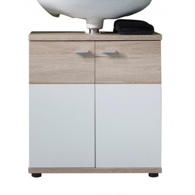 Meuble sous-vasque 2 portes coloris chêne de San Remo et blanc L. 60 x P. 35 x H. 65 cm collection Chiuro