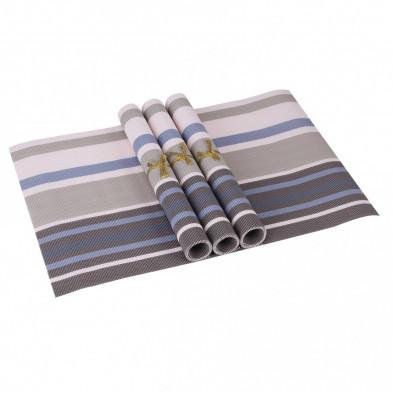 Lot de 4 Textile de table et de cuisine bleu moderne en pvc L. 45 x P. 30 cm collection Traffordpark