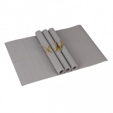Lot de 4 Textile de table et de cuisine gris moderne en pvc L. 45 x P. 30 cm collection Traffordpark