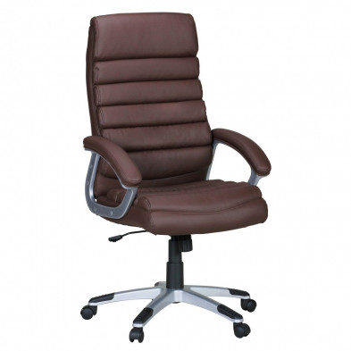 Chaise et fauteuil de bureau marron design en pvc L. 60 x H. 115 - 125 x P.60 cm  collection Champdepraz