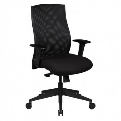 Chaise et fauteuil de bureau noir design en tissu L. 65 x P. 65 x H. 101 - 113 cm collection Drachten