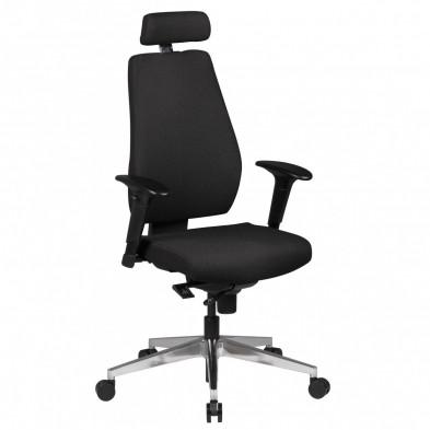 Chaise et fauteuil de bureau noir design en tissu L. 60 x P. 60 x H. 111 - 141 cm collection Resi