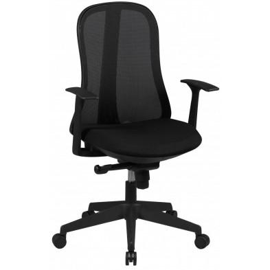Chaise et fauteuil de bureau noir design en tissu L. 62 x P. 62 x H. 100 - 109 cm collection Retherford