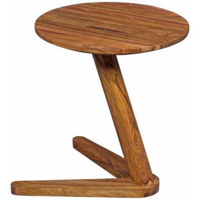 Chevet - table de nuit marron contemporain en bois massif L. 45 x P. 45 x H. 50 cm collection Oving