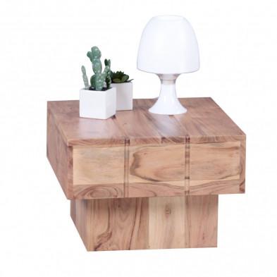 Table basse en bois marron contemporain en bois massif L. 44 x P. 44 x H. 30 cm collection Army