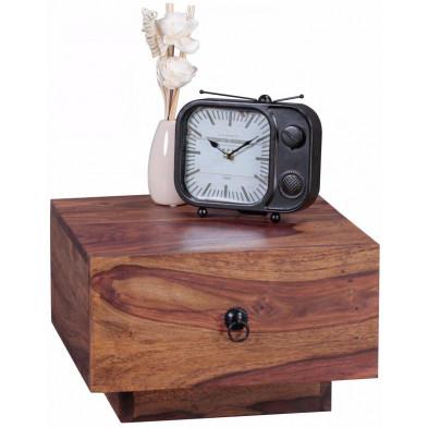 Table de chevet carrée 40x40 cm à 1 tiroir en bois massif sheesham collection C-Tilly