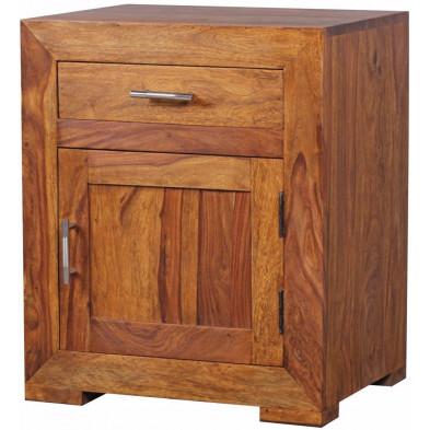 Chevet - table de nuit marron contemporain en bois massif L. 50 x P. 40 x H. 60 cm collection Oving