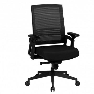 Chaise et fauteuil de bureau noir design en tissu L. 65 x P. 65 x H. 100 - 108 cm collection Abee