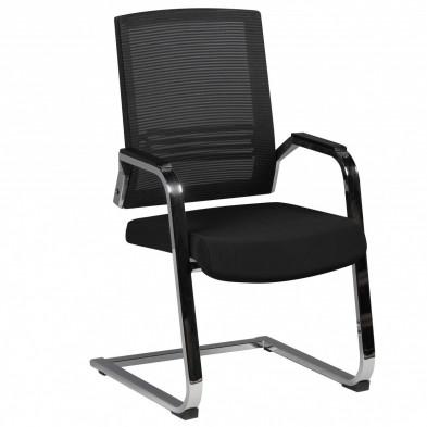 Chaise d'attente noir design en tissu L. 65 x P. 65 x H. 100 cm collection Early