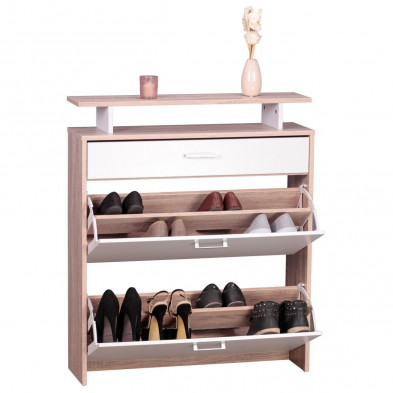 Meubles chaussures marron design en bois mdf L. 80 x P. 80 x H. 94 cm collection Brora