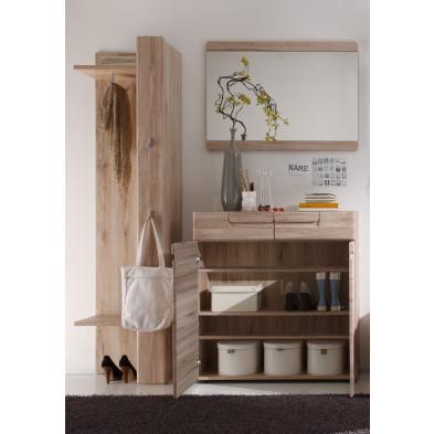 Vestiaire avec meuble à chaussure, miroir et meuble vestiaire coloris chêne de San Remo L. 35 x P. 160 x H. 191 cm collection Camarles
