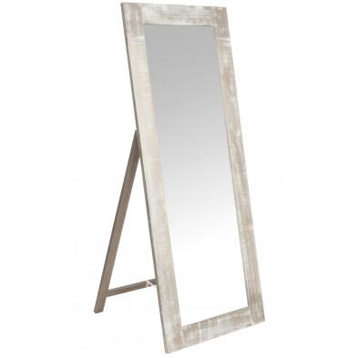Miroir sur pied marron design en bois massif 65 x 165 cm collection Swallow