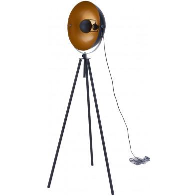 Lampadaire trépied en acier coloris noir et cuivré  L. 58 x P. 58 x H. 167 cm collection Overwrought