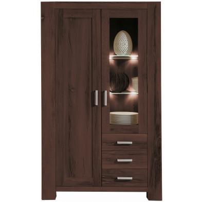 Vitrine rustique  2 portes dont 1 vitrée et 3 tiroirs en bois de chêne massif coloris chêne antique L. 111 x P. 47 x H. 181 cm collection Membury