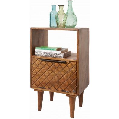 Commode rustique 1 tiroir et 1 niche ouverte en bois de manguier massif coloris naturel L. 40 x P. 29 x H. 67 cm collection Parcel