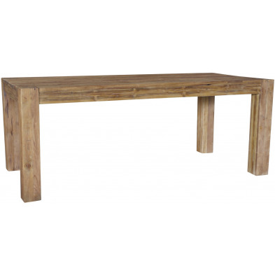 Table à manger rustique en bois de teck massif coloris naturel L. 220 x P. 100 x H. 78 cm collection Terlano