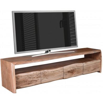 Meuble TV rustique 4 tiroirs et 1 niche ouverte en bois d'acacia massif coloris naturel L. 190 x P. 47 x H. 45 cm collection Savor