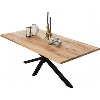 Table à manger rustique en bois massif de chêne avec piétement acier coloris noir L. 220 x P. 100 x H. 76 cm collection Jacklyn