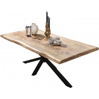 Table à manger rustique en bois de manguier massif avec piétement en acier coloris noir L. 240 x P. 100 x H. 77 cm collection Northwatten