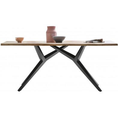Table à manger rustique avec plateau en bois d'acacia massif et piétement en acier coloris argent antique L. 180 x P. 90 x H. 76 cm collection Umnny