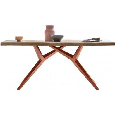 Table à manger rustique avec plateau en bois d'acacia massif et piétement en acier coloris noir antique L. 180 x P. 100 x H. 78 cm collection Seulo