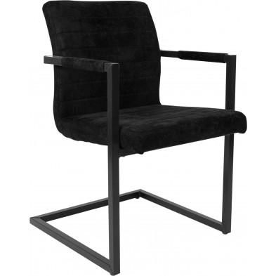 Lot de 2 chaises de salle à manger industriel  en similicuir et acier coloris noir L. 55 x P. 57 x H. 89 cm collection Laneffe